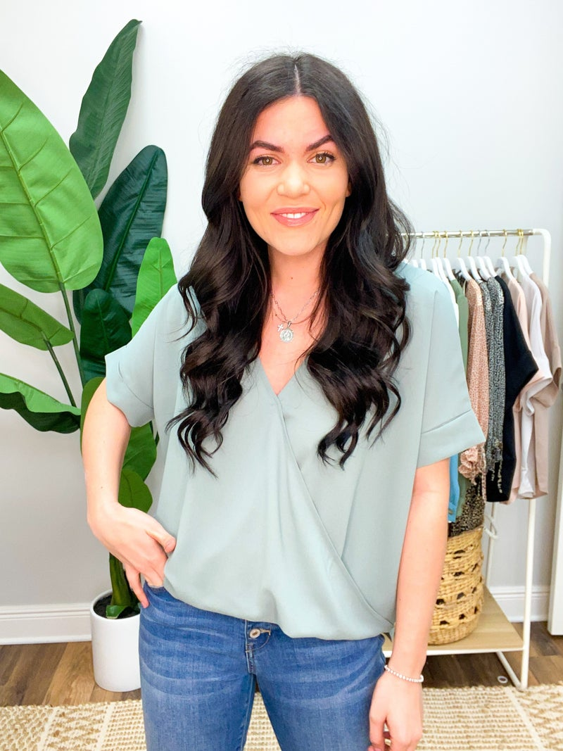 Way To Go Wrap Blouse - Sage Green