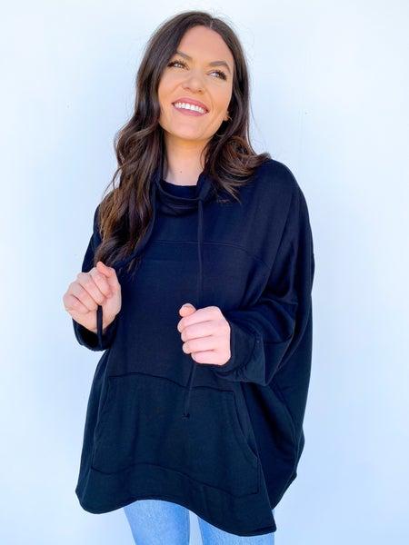 The Astrid Pullover Drawstring Top - Black