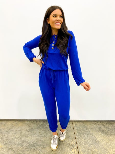 Bags Checked Long Sleeve Jumpsuit - Royal