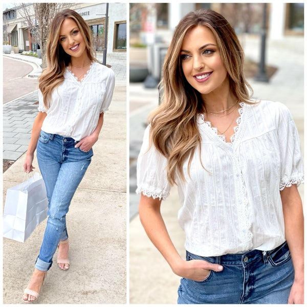 Adalyn Lace Button Top