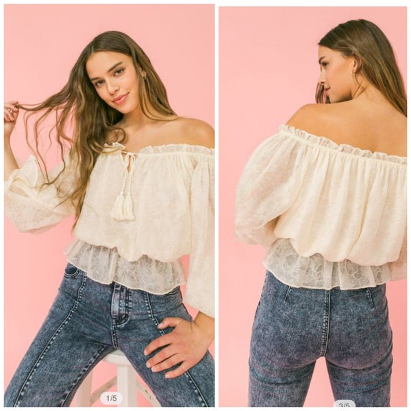 Evelyn Lace Shoulder Top
