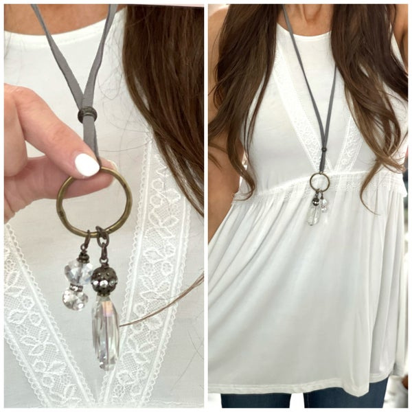 Crystal Suede Necklace