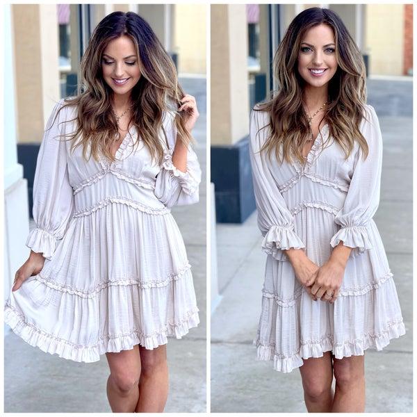 Emilia Satin Ruffle Dress