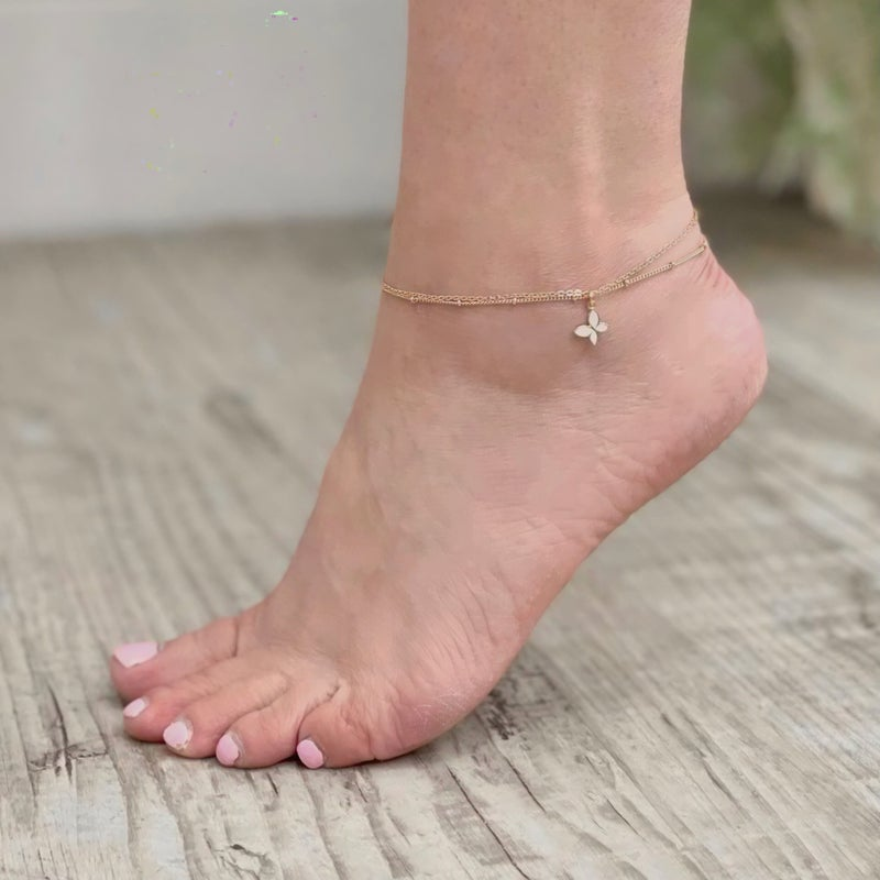 Butterfly Double Strand Anklet