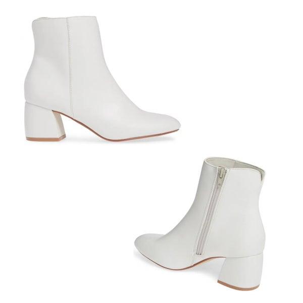 Whitney White Leather Bootie
