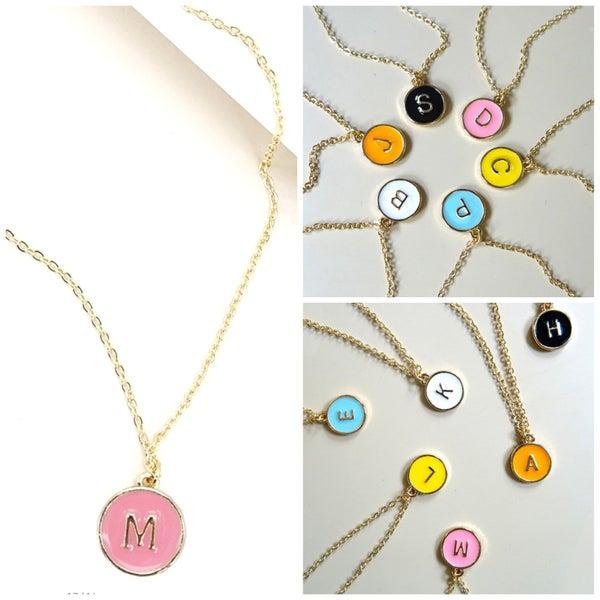 Circle Letter Pendant Necklace