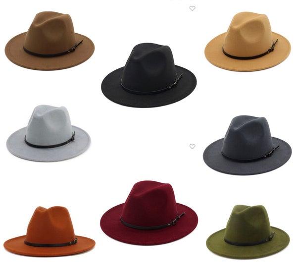 Wide Brim Gold Strap Hat