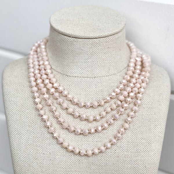 4 Strand Pink Crystal Necklace