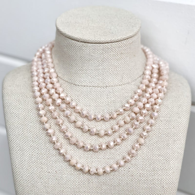 4 Strand Pink Crystal Necklace