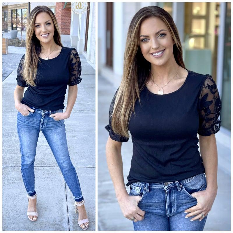 Jillian Lace Sleeve Top