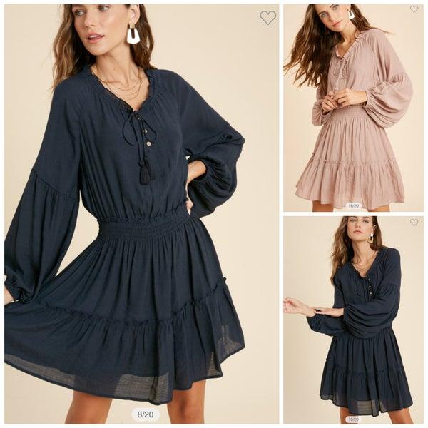 Abbie Tiered Long Sleeve Dress