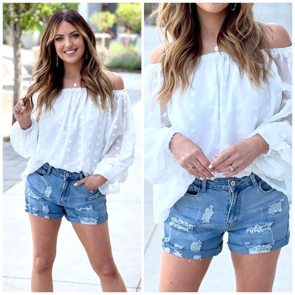 Hana Distressed Denim Shorts