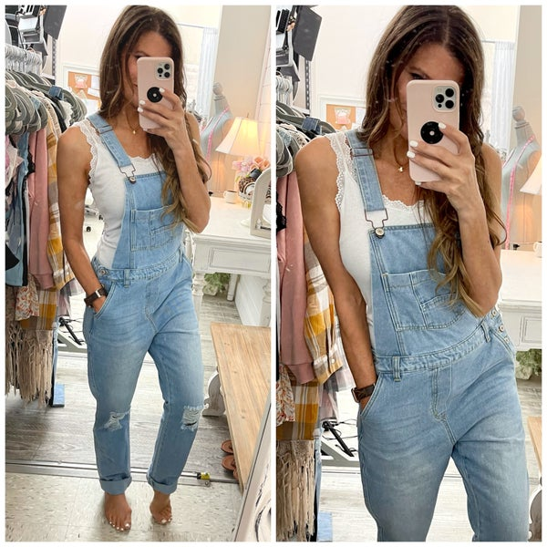 Stacey Distressed Overalls
