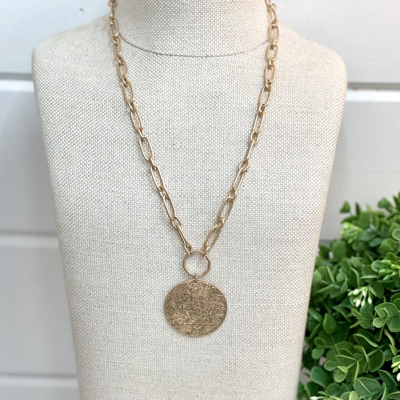 Large Coin Charm Necklace