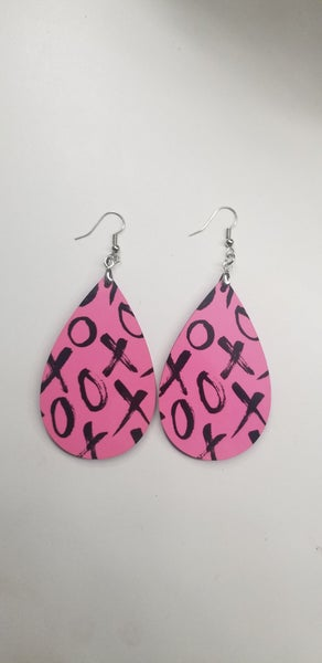 XOXO pink teardrop earrings *Final Sale*