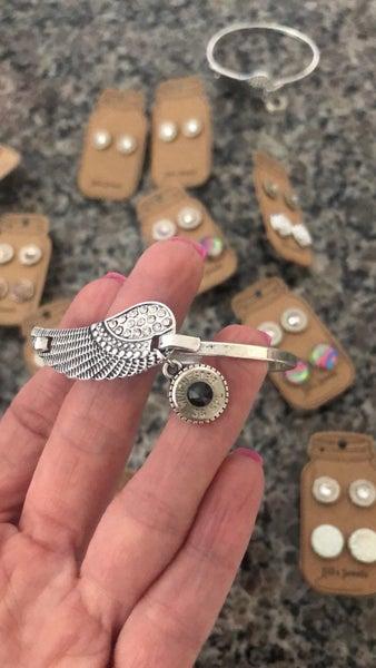 Silver feather bullet bracelet