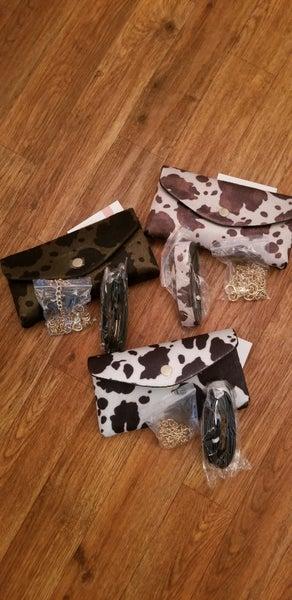 Cow hide crossbody purse