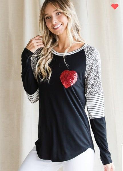 Heart raglan sleeve top