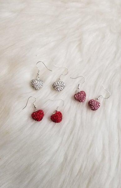 Heart Rhinestone dangle earrings *Final Sale*