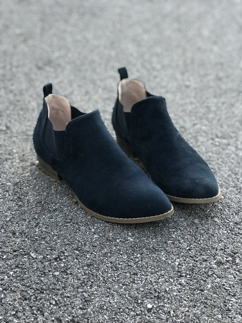 Glory Bootie- Navy Suede Slip-on