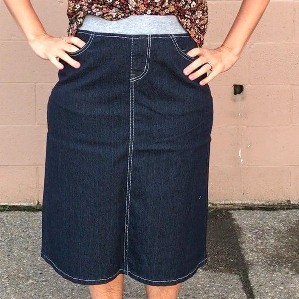 Elastic Waist Reg + Plus Denim Skirt