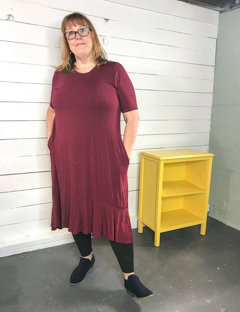 Cranberry T-shirt Dress (Plus)