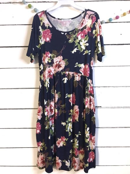 Floral T-shirt Dress with Pockets