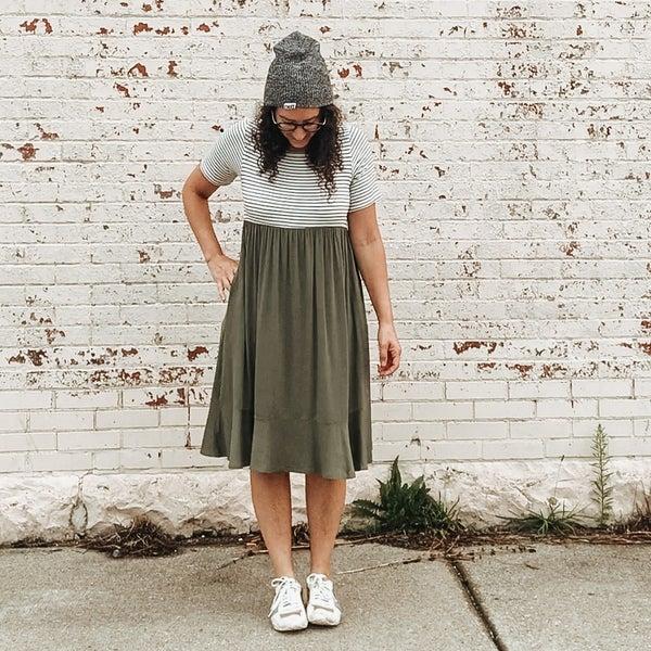 Striped Sage All Purpose Dress
