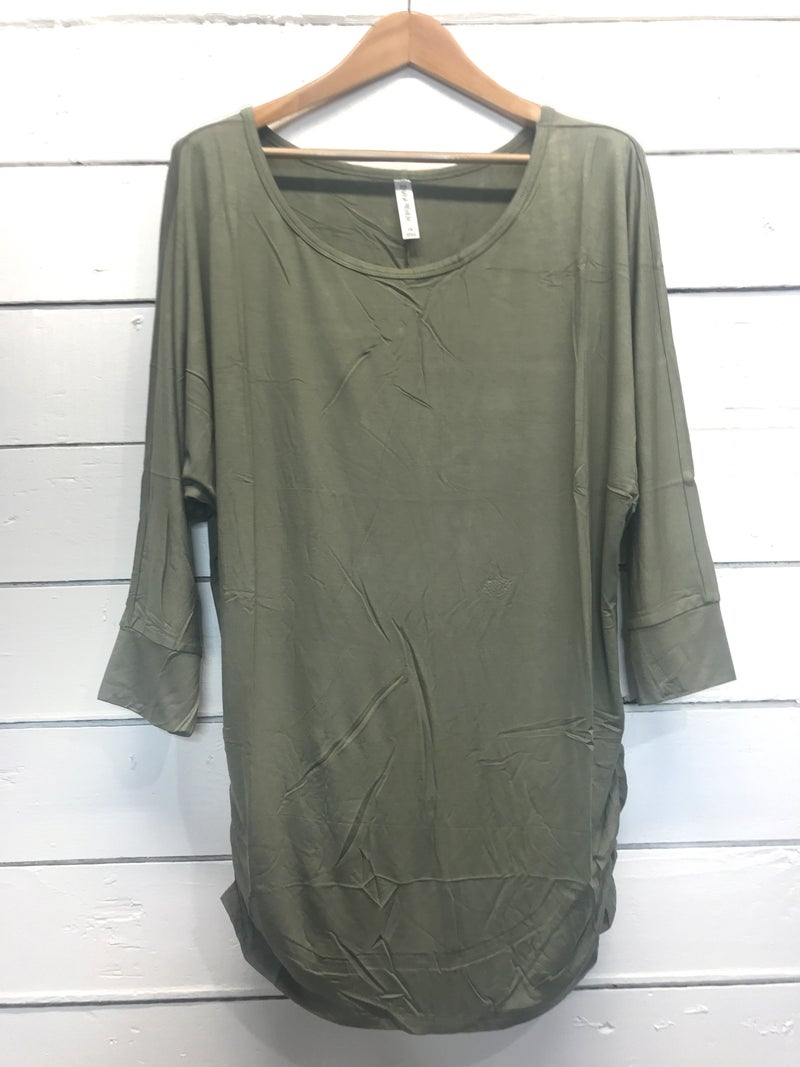 Boat Neck 3/4 Sleeve Top with Ruching