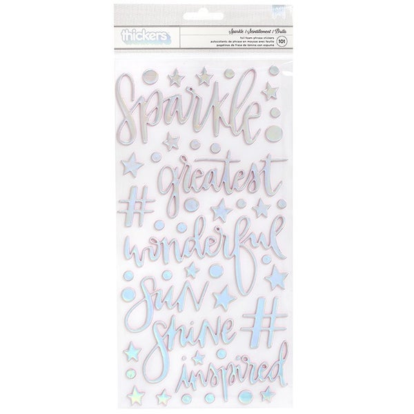 American Crafts Thickers Foam with Foil Accents Phrase and Icon Sparkle