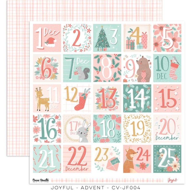 PRE ORDER Cocoa Vanilla Studio JOYFUL – ADVENT  12 x 12 Cardstock