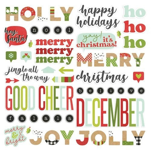 Simple Stories - Make It Merry Collection - Christmas - Foam Stickers
