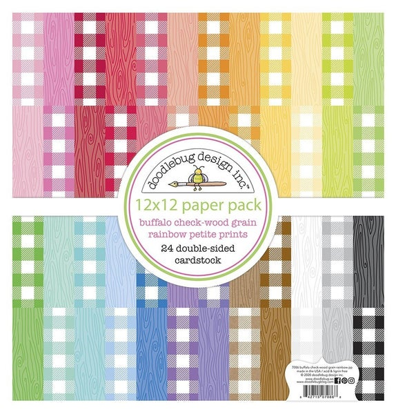 Doodlebug Design Monochromatic 12 x 12 Paper Pad Petite Prints Buffalo Check