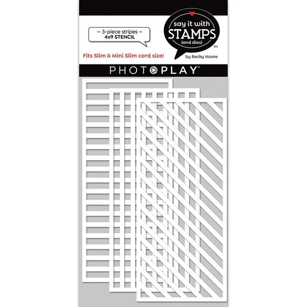 Photoplay Say It With Stamps - 3 piece Stripes Stencil