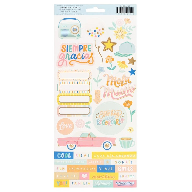 Buenos Dias 6 x 12 Cardstock Stickers - Matte Gold Foil Accent