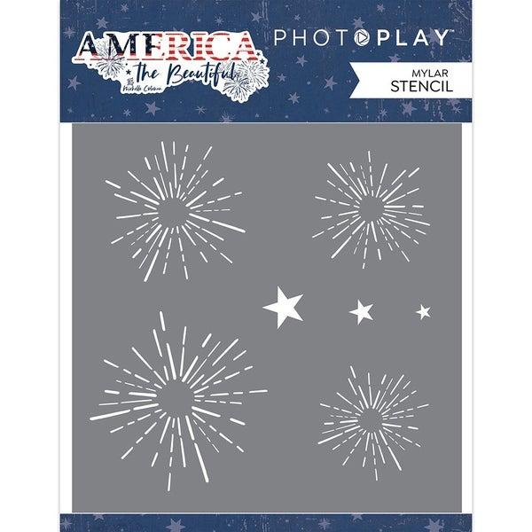 PhotoPlay  America The Beautiful Stencil - Firework