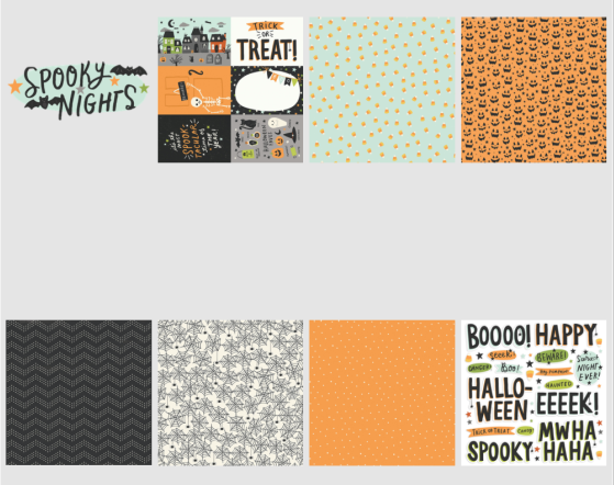 Simple Stories Spooky Nights 7 piece mini Happy Scrappy Bag