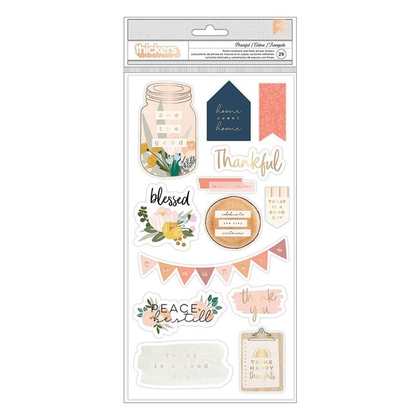 Jen Hadfield - Peaceful Heart  Thickers - Phrases - Gold Foil Accents PEACEFUL