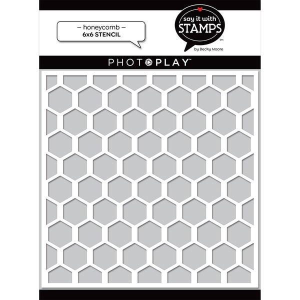Photo Play  Say It With Stamps 6 x 6 Stencils - Honeycomb