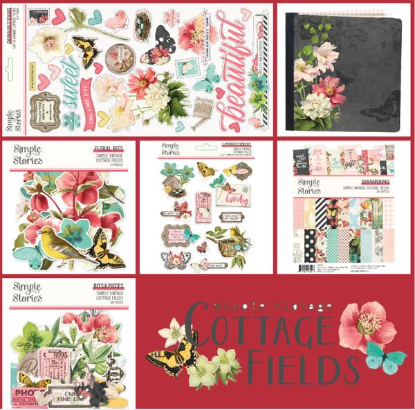 Simple Stories Vintage Cottage Fields Flip Book 6 pc Happy Scrappy Bag