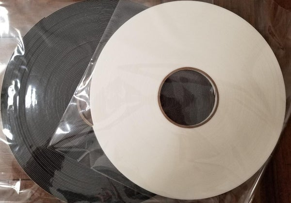 """TWIN PACK BLACK AND WHITE DOUBLE SIDED FOAM TAPE (72 yards total)  1/4"""" X 36 YARDS  1/16"""" THICK"""
