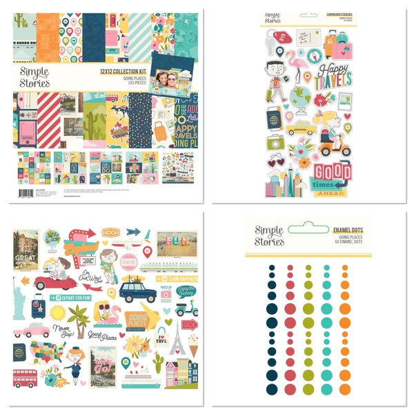 Simple Stories Going Places 4 pc Happy Scrappy Bag