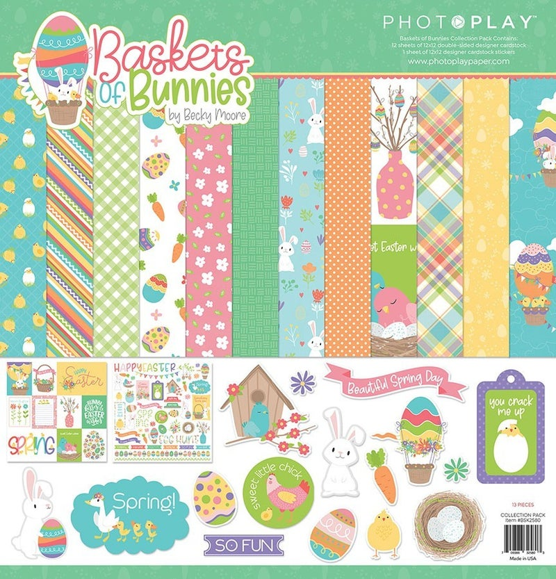 PhotoPlay Baskets of Bunnies 2 pc Happy Scrappy Bag