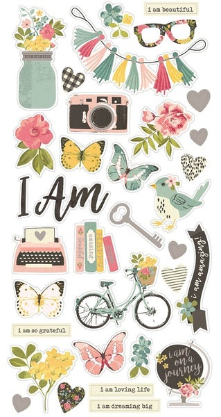 Simple Stories I Am 6 x 12 Chipboard Stickers with Foil Accents