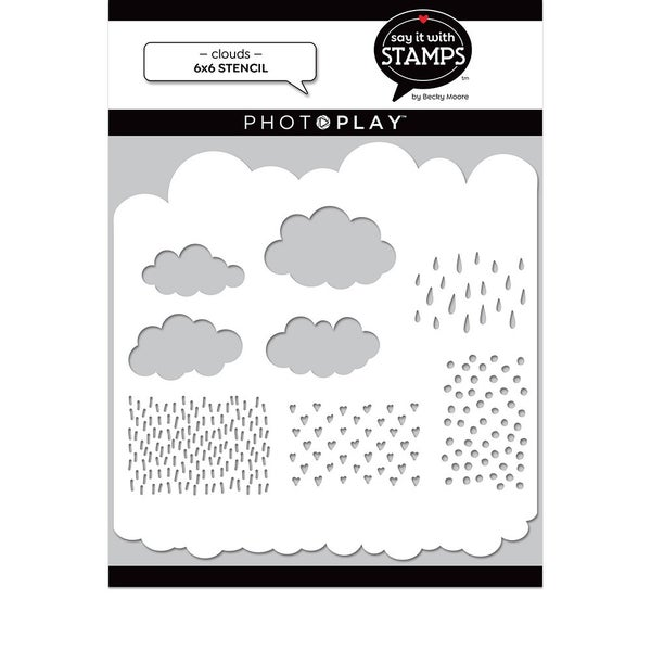 Photo Play Paper  Say It With Stamps Collection  6 x 6 Stencil Clouds
