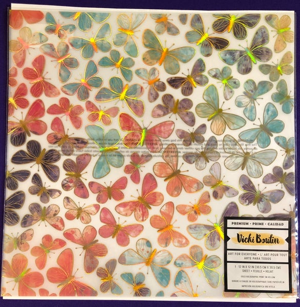 Vicki Boutin Wildflower and Honey Butterfly Acetate Paper w/ Holographic and Foil accents