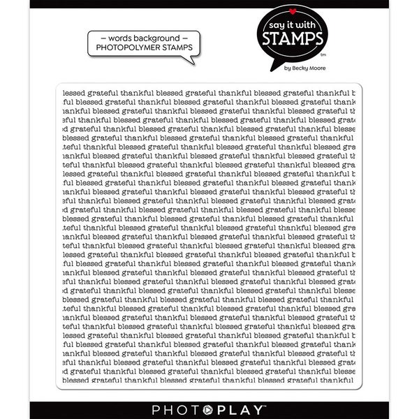 Photo Play Say It With Stamps  Grateful Thankful Blessed Background