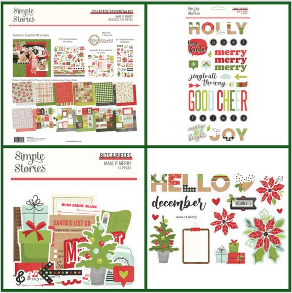 Simple Stories Make It Merry 4 Piece Happy Scrappy Bag