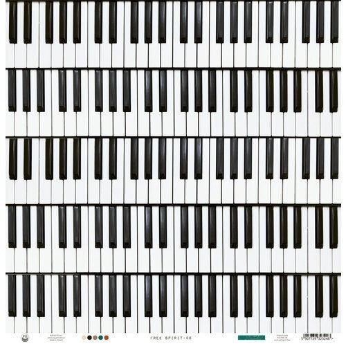 P13 - Free Spirit  12 x 12 Paper Piano Keys 4 papers