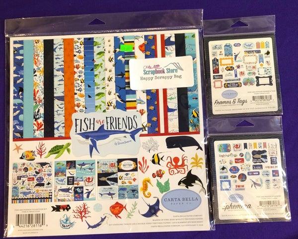 Carta Bella Fish Are Friends 3 pc Happy Scrappy Bag